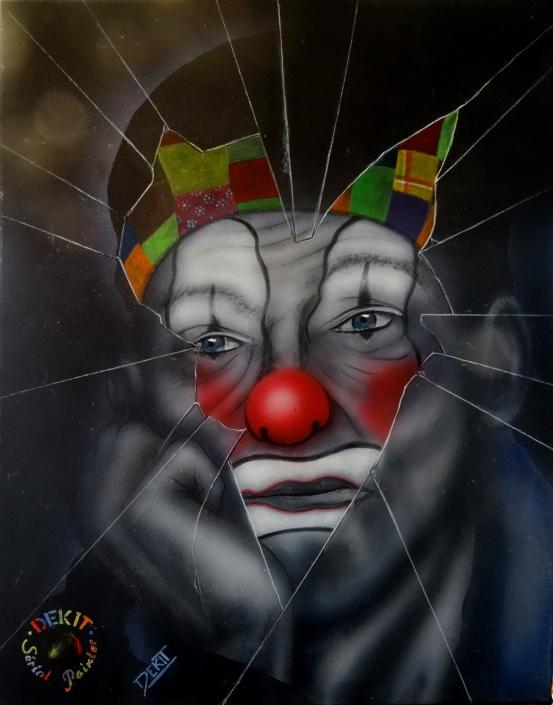 Clown et clone -Acrylique Recto- 50 X 40 -